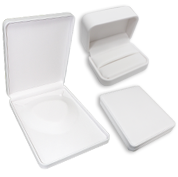 White Premium Leatherette Jewelry Gift Boxes